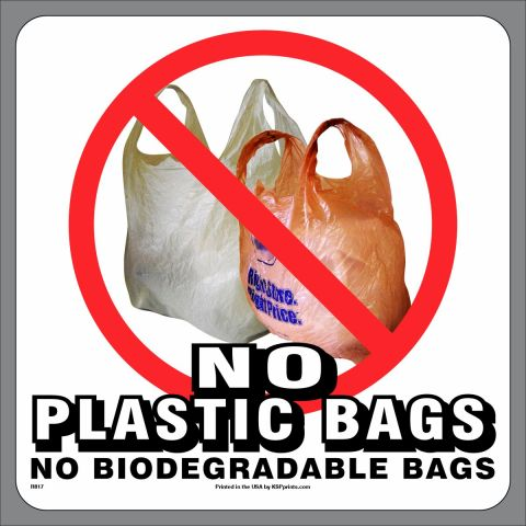 No Plastic Biodegradable Bags Stickers
