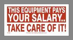 Equipment Pays Salary Sticker