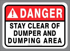 DANGER Clear of Dumper Stickers