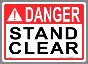 Danger Stand Clear Waste Stickers