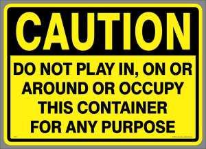 Large Caution Play Waste Management Sticker