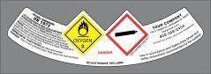 UN1072 GHS style Oxygen, Compressed USP Neck label