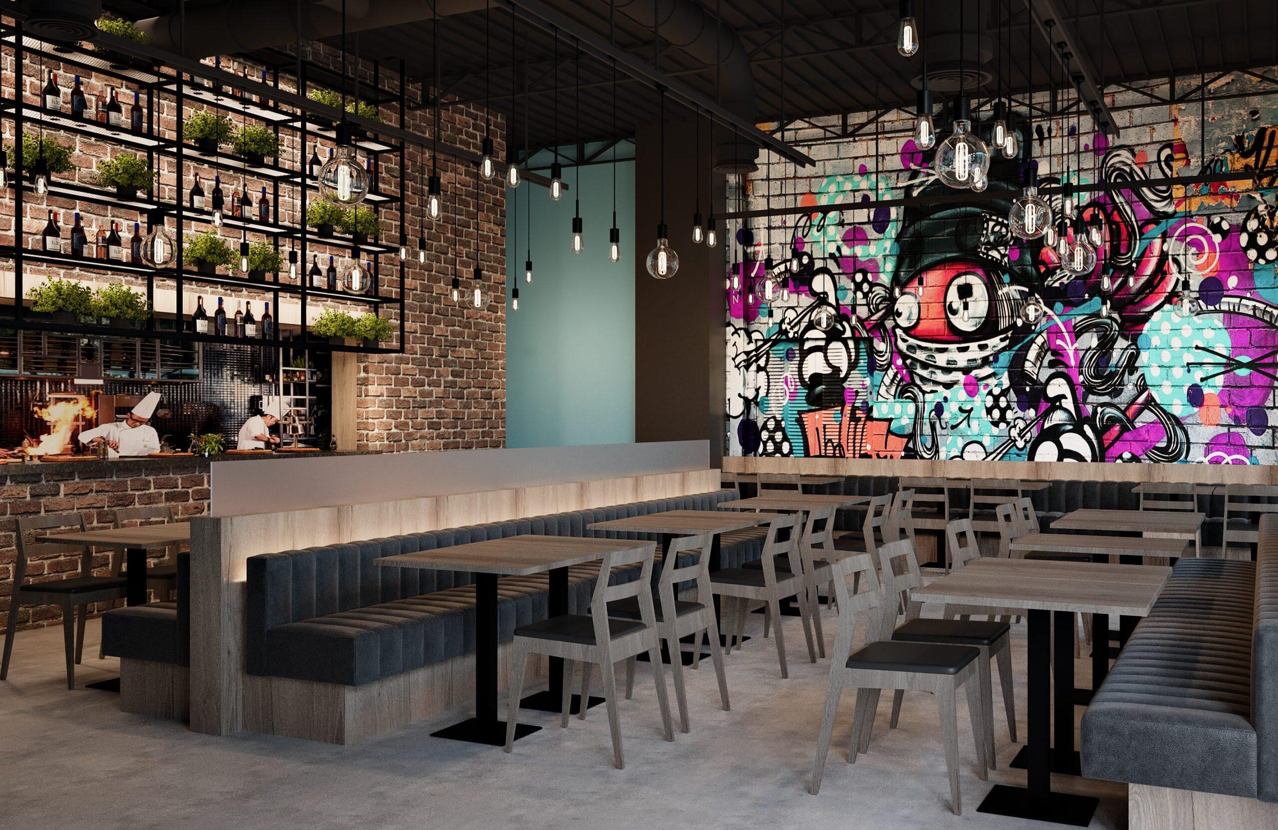 interior design for pizza store