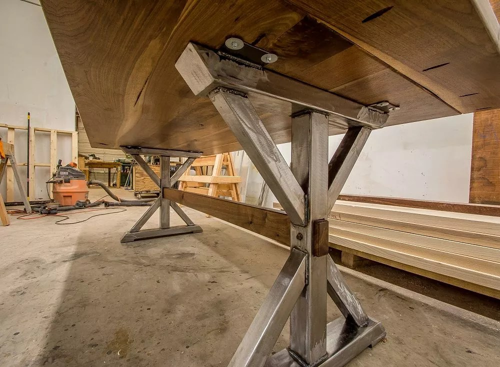 Modern Industrial Trestle Table KS WoodCraft