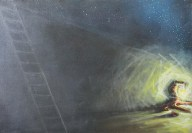 """The Light Tree Series: At the Wall I 2008 Oil on Canvas 3' x 2' x 2 1/4"""""""