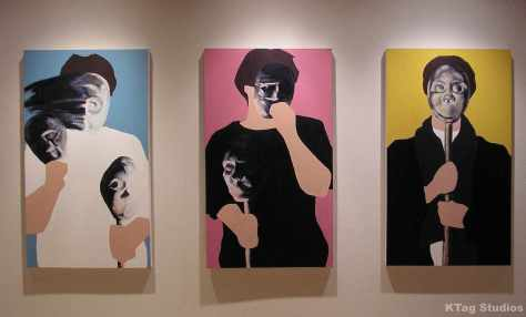 """The Mask Series: Addition of the Supposed Self I - III 2007 Acrylic on Canvas Each canvas is 50 3/8"""" x 29"""" x 2 1/4"""""""