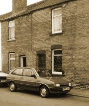 our first house and car sepia