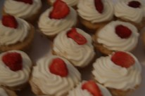 Strawberry Topped Cupcakes with Whipped Cheese Frosting