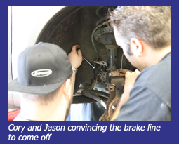 Cory and Jason convincing the brake line to come off