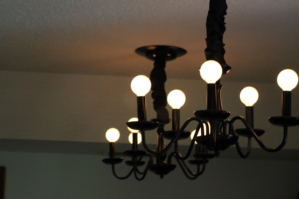 Black Chandeliers with cord covers