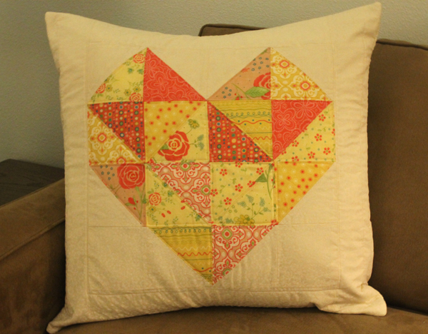 Geo Heart Pillow using Moda Charm Packs