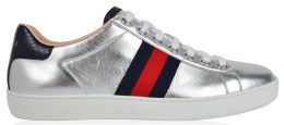 Ace Metallic Low Top Sneaker by GUCCI Womens-Silver-ZK030J05W