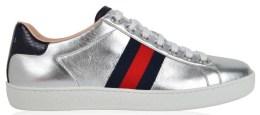 Ace Metallic Low Top Sneaker by GUCCI Womens-Silver-ZK030J05W