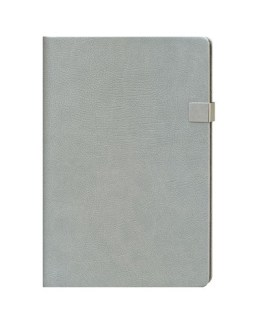 Faux Leather Light Grey A4 Notebook with Clip Latch