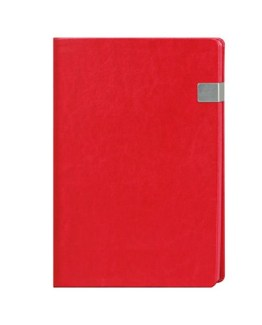 Faux Leather Red A4 Notebook with Clip Latch
