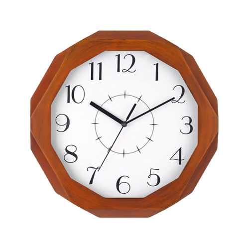 Octagon-Wooden-Analog-Clock