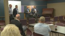 Rep. Steve King and State Agriculture Secretary Bill Northey address a meeting about the spread of Avian Influenza Saturday in Rock Rapids, Iowa