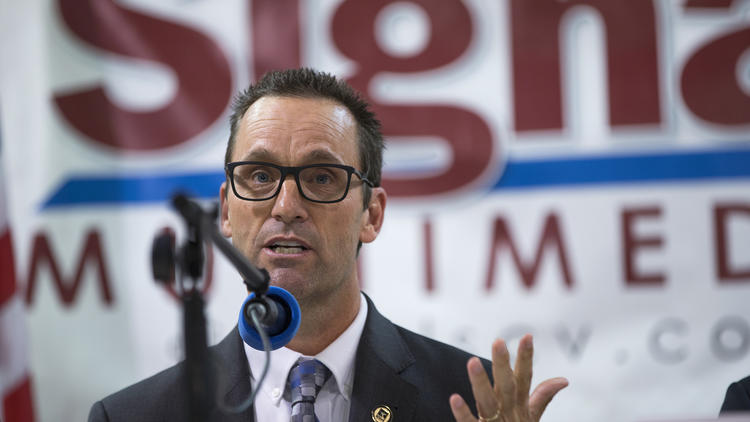 In this file photo, Rep. Steve Knight, R-Palmdale, answers a question during a debate in Newhall. (Credit: Gina Ferazzi / Los Angeles Times)