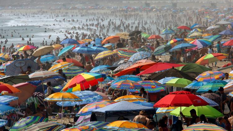 Hundreds of people seek relief from the hot weather in the surf alongside the Santa Monica Pier in July 2017. (Credit: Genaro Molina / Los Angeles Times)