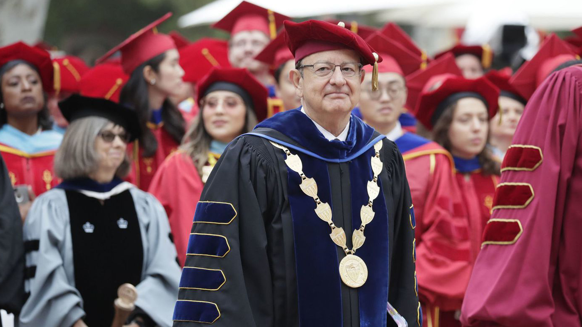 USC President C. L. Max Nikias is seen taking part in a commencement ceremony in this undated photo. (Credit: Irfan Khan / Los Angeles Times)
