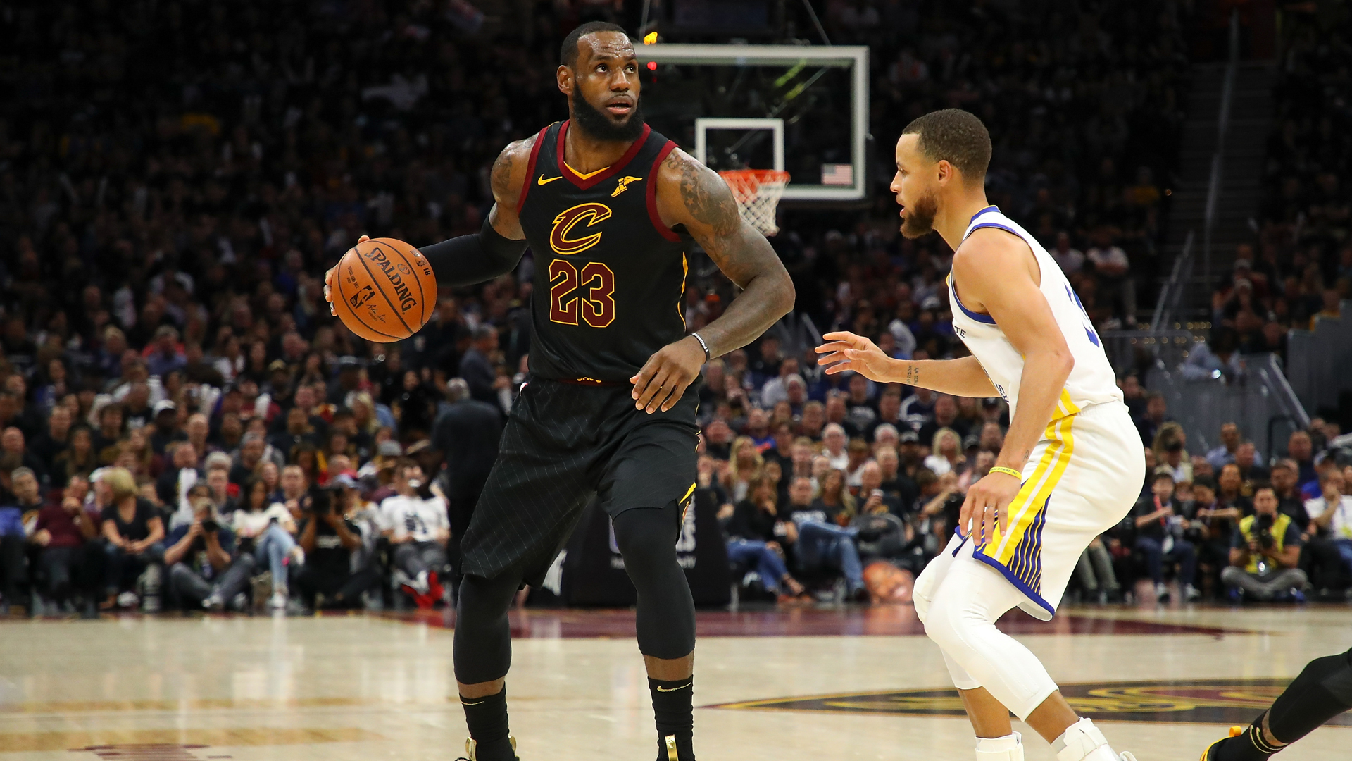 LeBron James #23 of the Cleveland Cavaliers drives to the basket defended by Stephen Curry #30 of the Golden State Warriors during Game Four of the 2018 NBA Finals at Quicken Loans Arena on June 8, 2018 in Cleveland. (Credit: Gregory Shamus/Getty Images)
