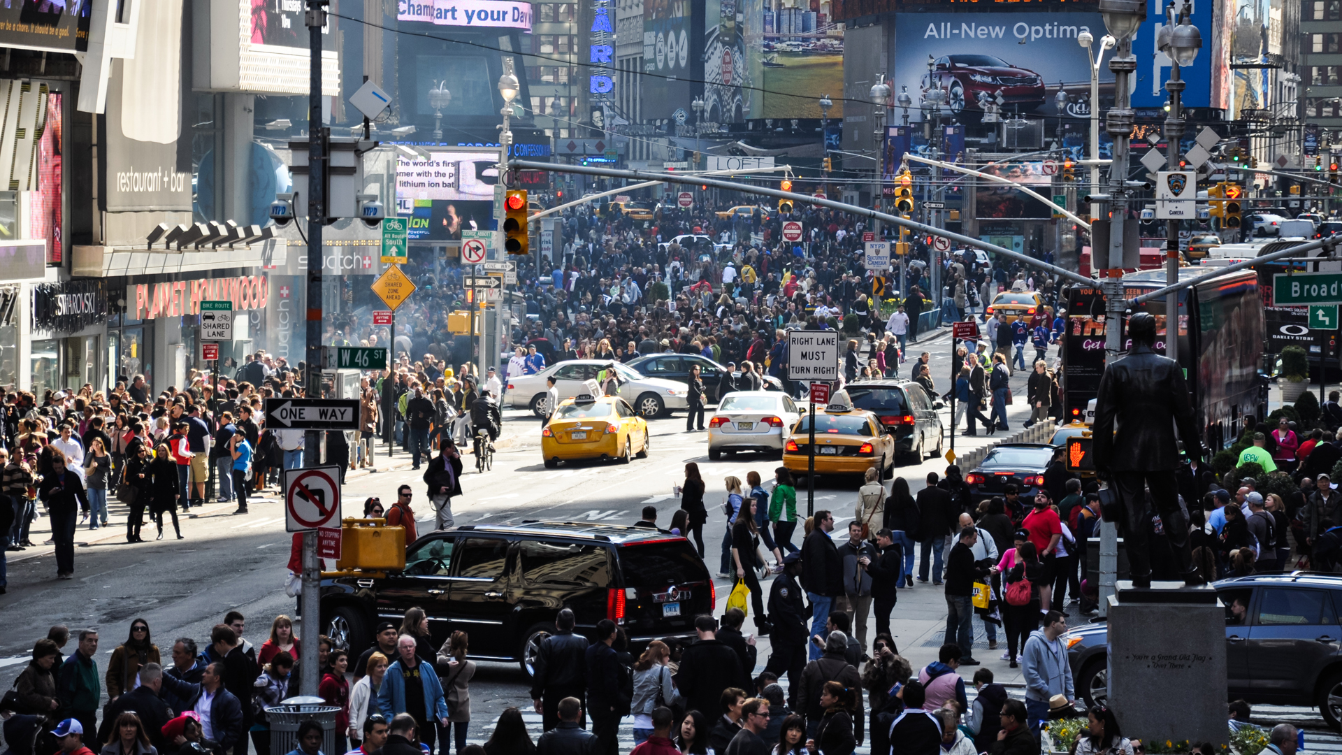 A file photo showing crowds of people in New York City's Times Square. (Credit: iStock / Getty Images Plus)