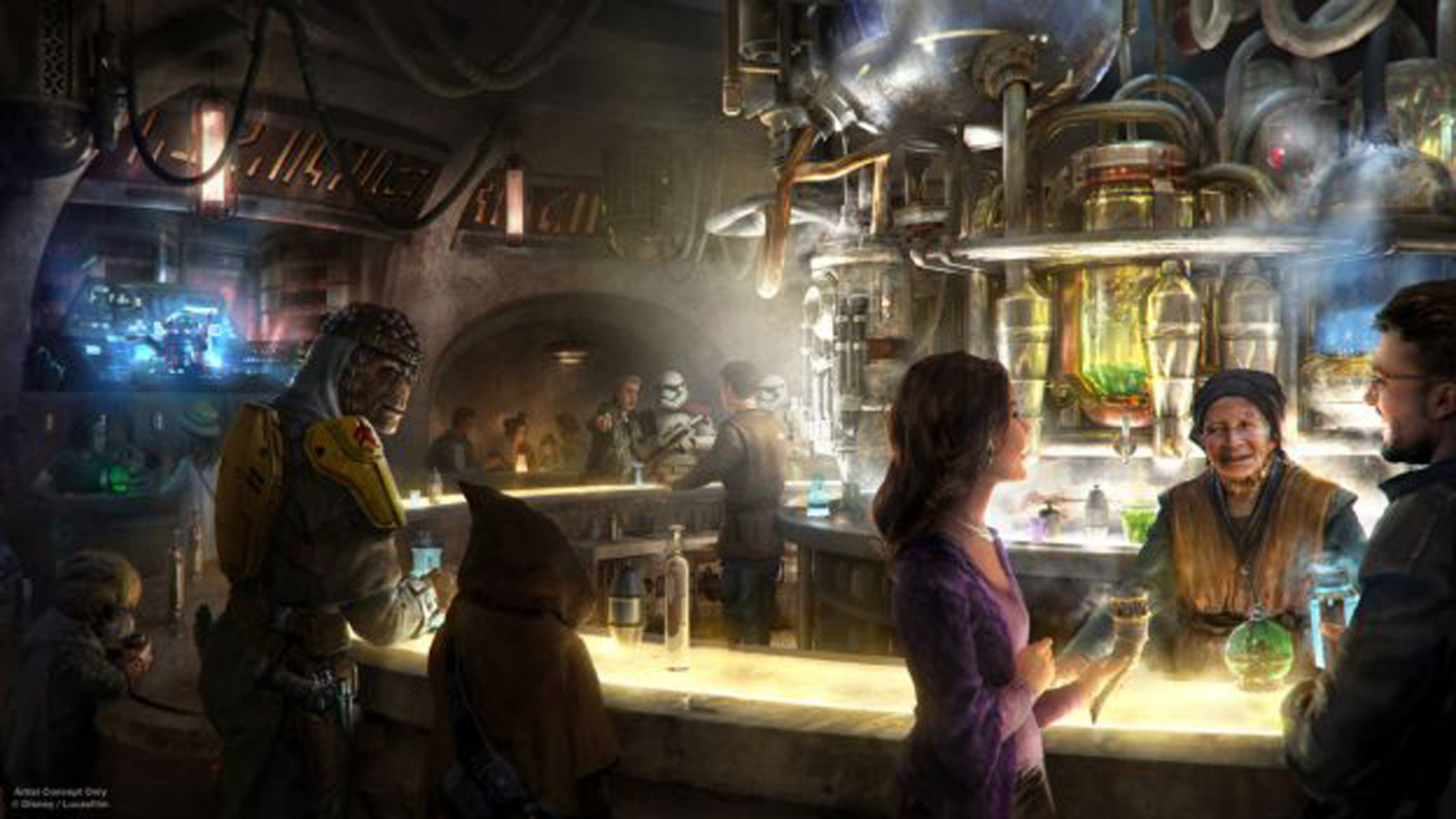 An artist's rendition of Oga's Cantina, which is coming to Star Wars: Galaxy's Edge at Disneyland in 2019. (Credit: Disneyland Resort)