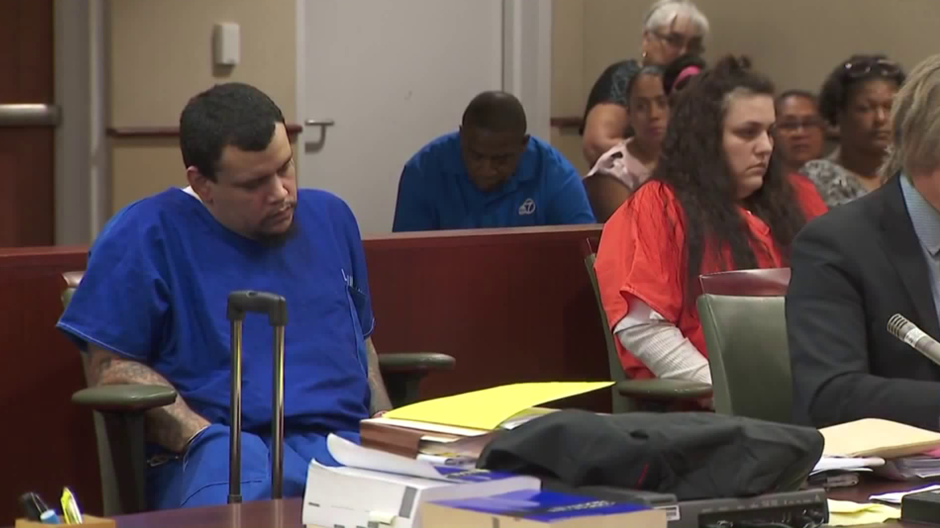 Kareem Ernesto Leiva, left, and Heather Maxine Barron appear for their arraignment in a Lancaster courtroom on Oct. 3, 2018. (Credit: KTLA)