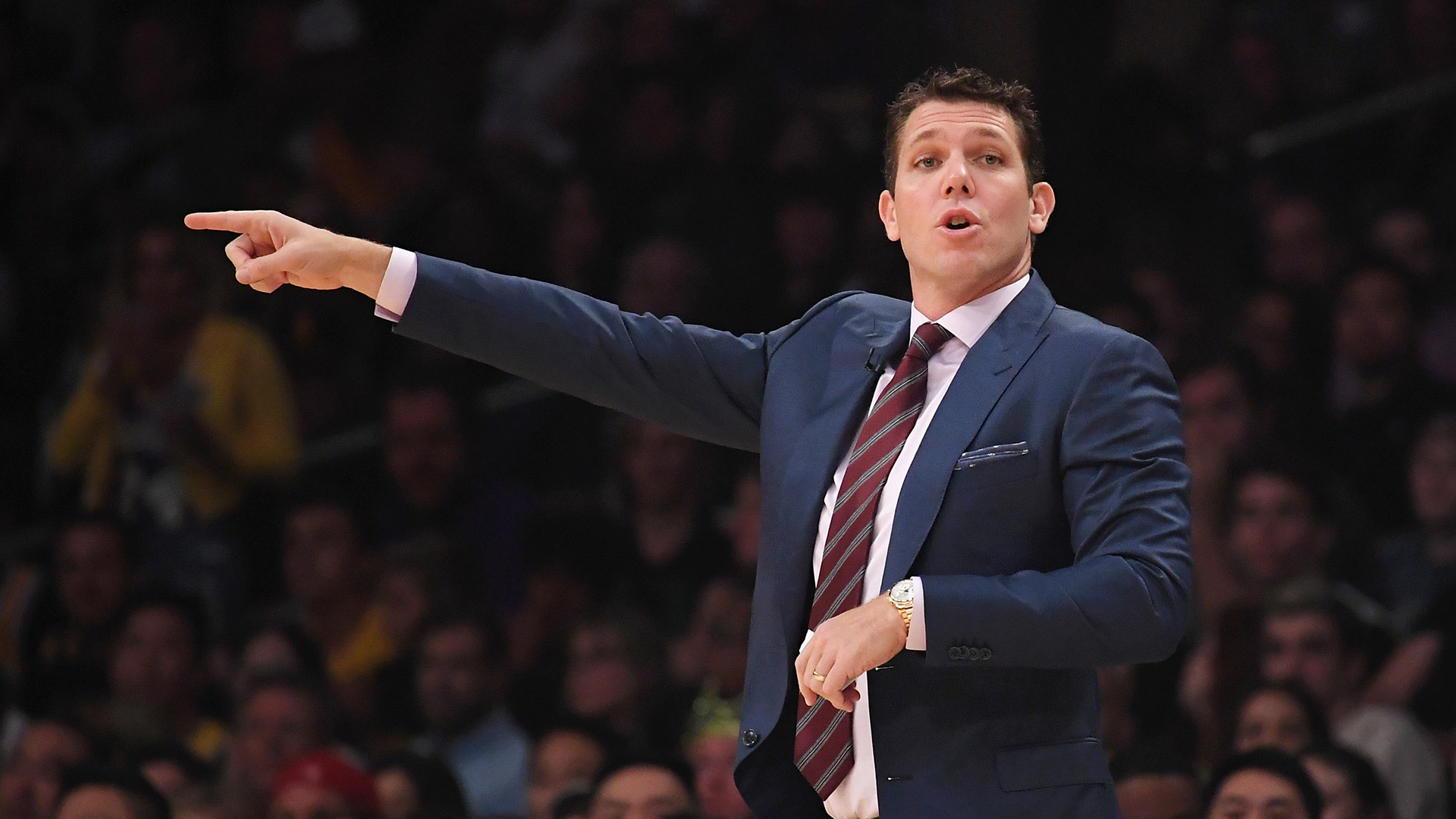 Head coach Luke Walton of the L.A. Lakers gestures during the first quarter against the Houston Rockets at Staples Center on October 20, 2018 in Los Angeles. (Credit: Harry How/Getty Images)
