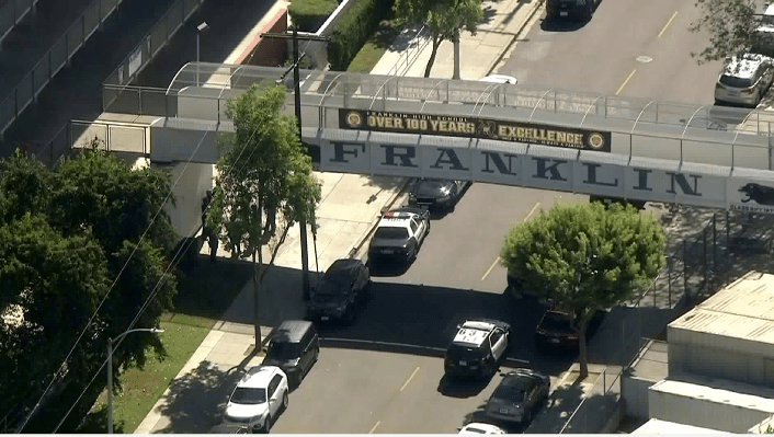 Multiple patrol cars are seen near Franklin High School in Highland Park on Oct. 15, 2018. (Credit: KTLA)