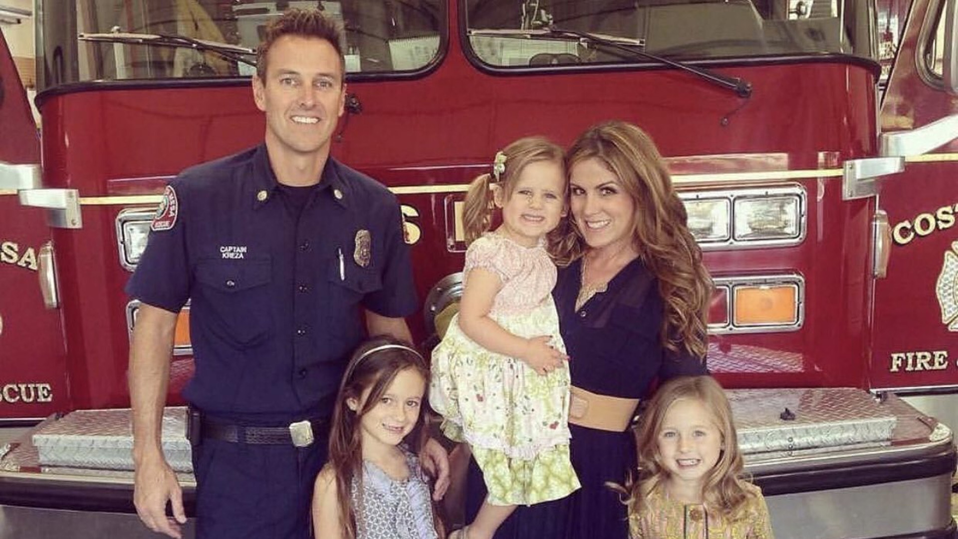 Costa Mesa Fire and Rescue Capt. Mike Kreza is seen with his family in an image posted to GoFundMe on Nov. 3, 2018.