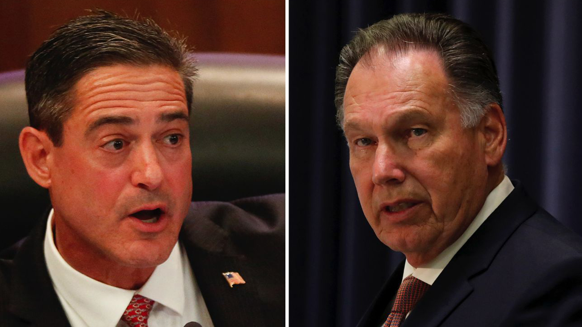Orange County Supervisor Todd Spitzer, left, and longtime DA Tony Rackauckas are seen in undated photos. The two are getting into a heated race for the O.C. DA's office in the 2018 midterm election. (Credit: Los Angeles Times)
