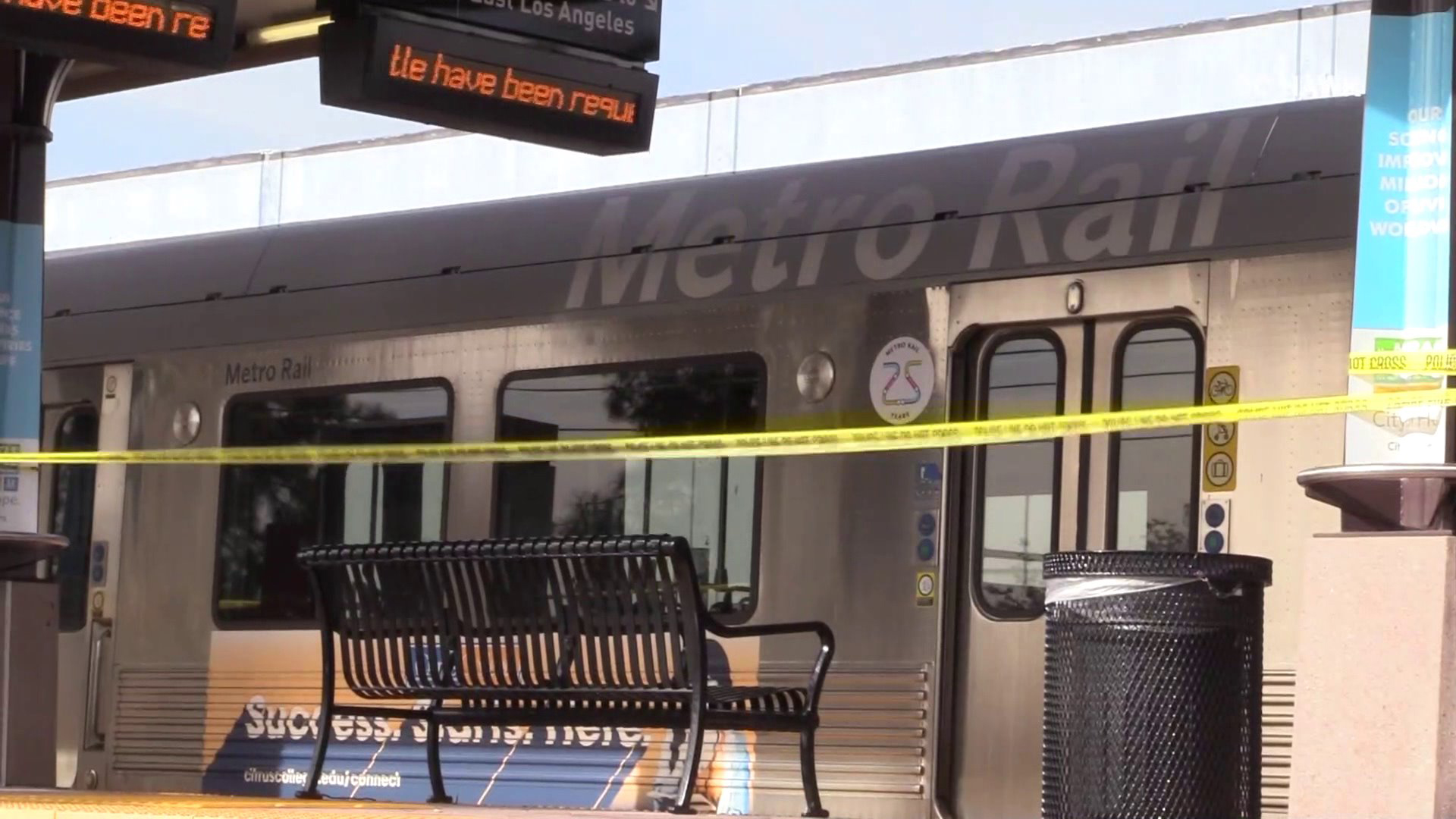 An investigation was underway at a Metro station in Duarte after a passenger was fatally stabbed aboard a Gold Line train on Nov. 27, 2018. (Credit: OC Hawk)