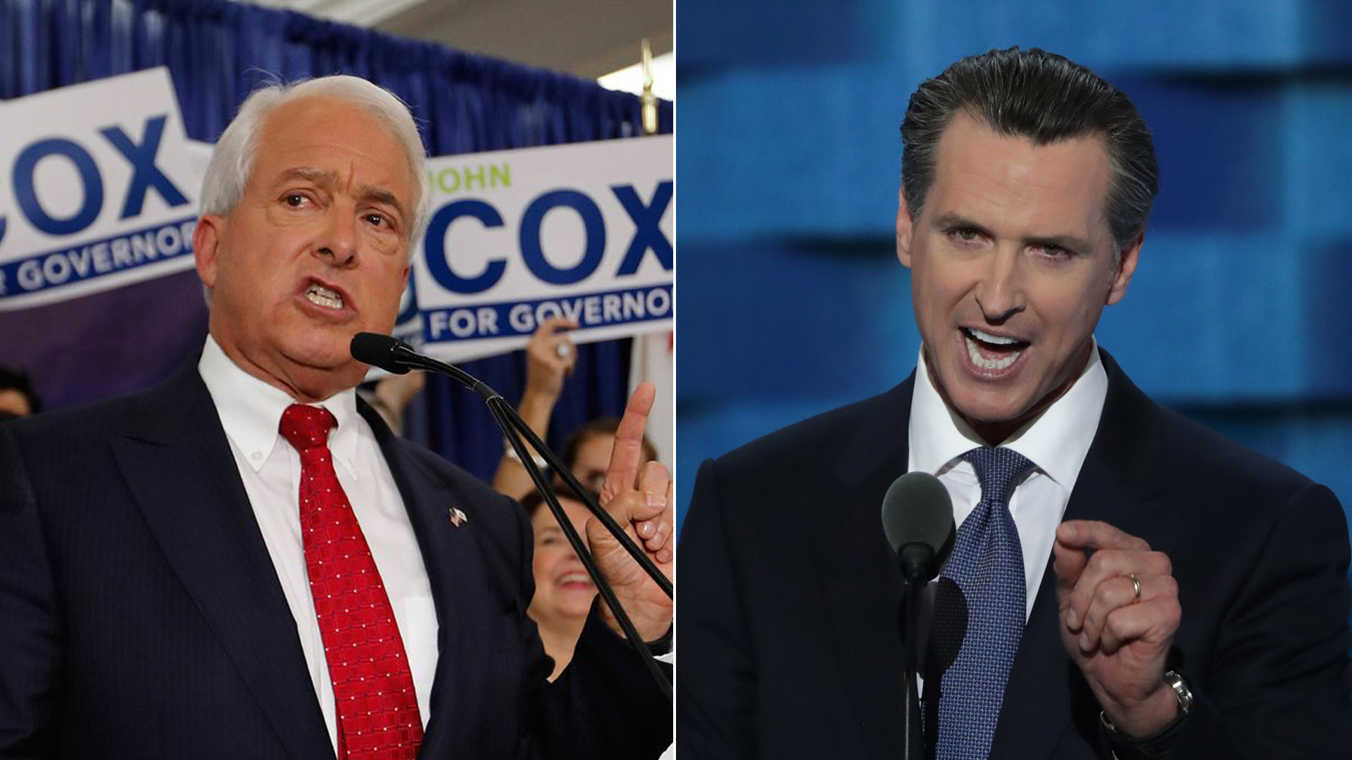 From left: Republican gubernatorial candidate John Cox addresses supporters at his primary election-night party in San Diego on June 5, 2018, and Gavin Newsom delivers remarks at the Democratic National Convention in Philadelphia on July 27, 2016. (Credit: Allen J. Schaben / Los Angeles Times; Alex Wong / Getty Images)