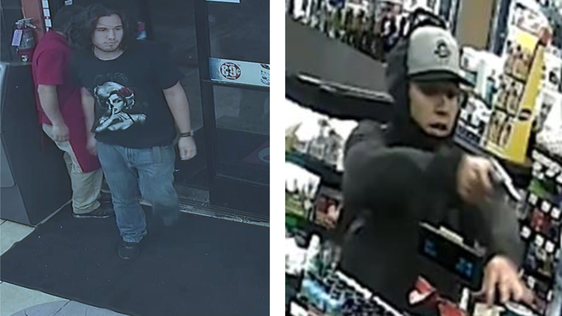 "A robbery suspect police are calling the ""Silver Revolver Bandit,"" pictured in surveillance camera images from crimes that took place Sept. 9 in Riverside (left) and Dec. 5 in Riverside (right). He's also suspected in three additional armed robberies. (Credit: Riverside Police Department)"