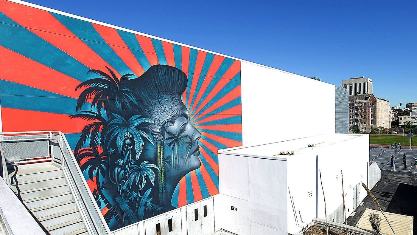 A mural by artist Beau Stanton is seen at the RFK Community Schools complex in Koreatown in an undated photo. (Credit: Kirk McKoy / Los Angeles Times)