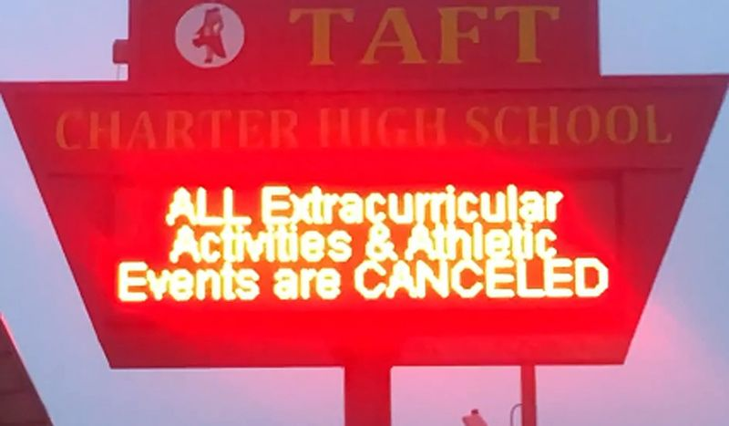 A flashing sign on the Taft High School marquee indicated all athletic activities were canceled on Jan. 14, 2019 amid a LAUSD teachers strike. (Credit: Eric Sondheimer/ Los Angeles Times)