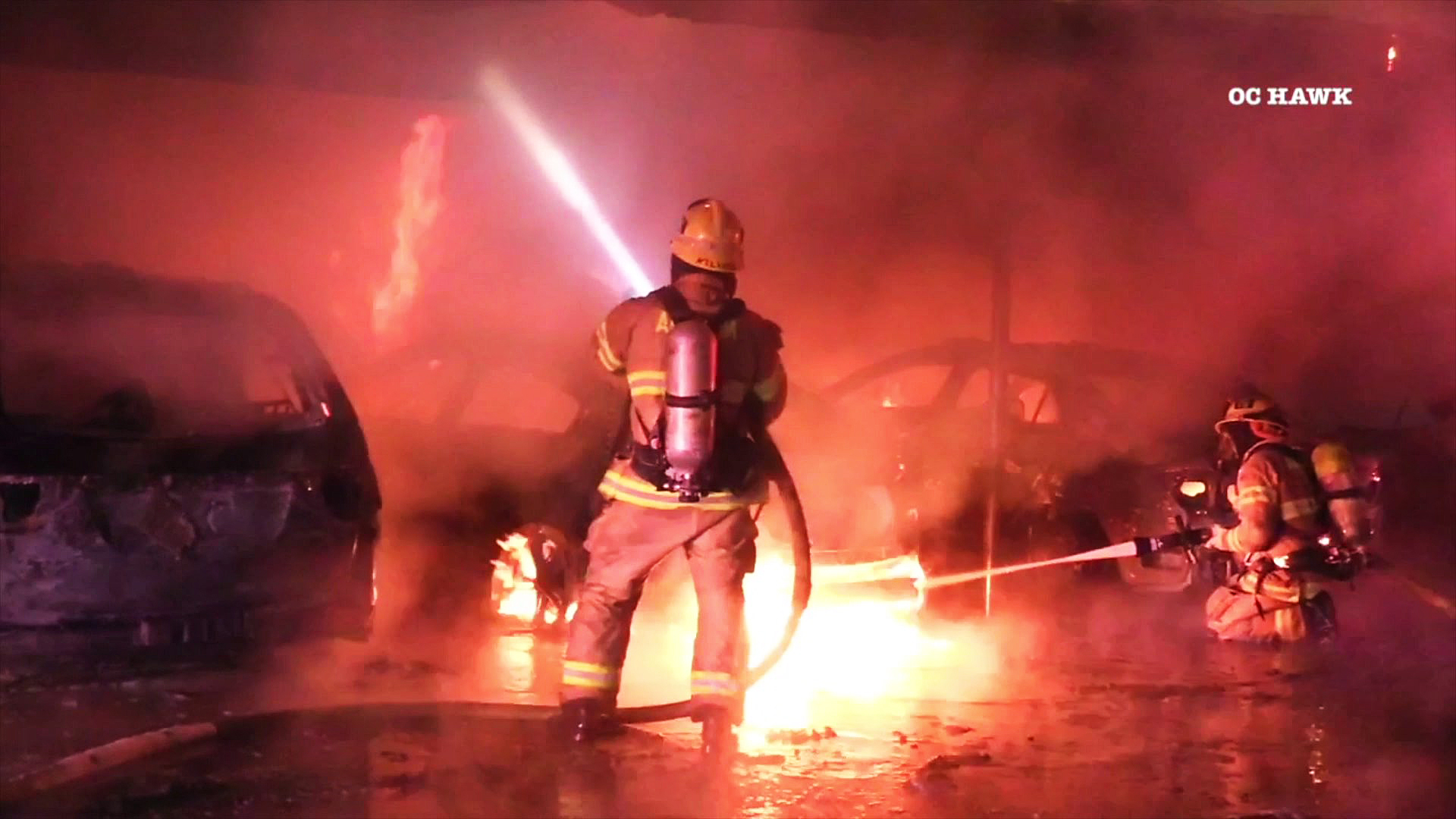 A firefighter battles a blaze in Anaheim on Jan. 31, 2019. (Credit: OC Hawk)
