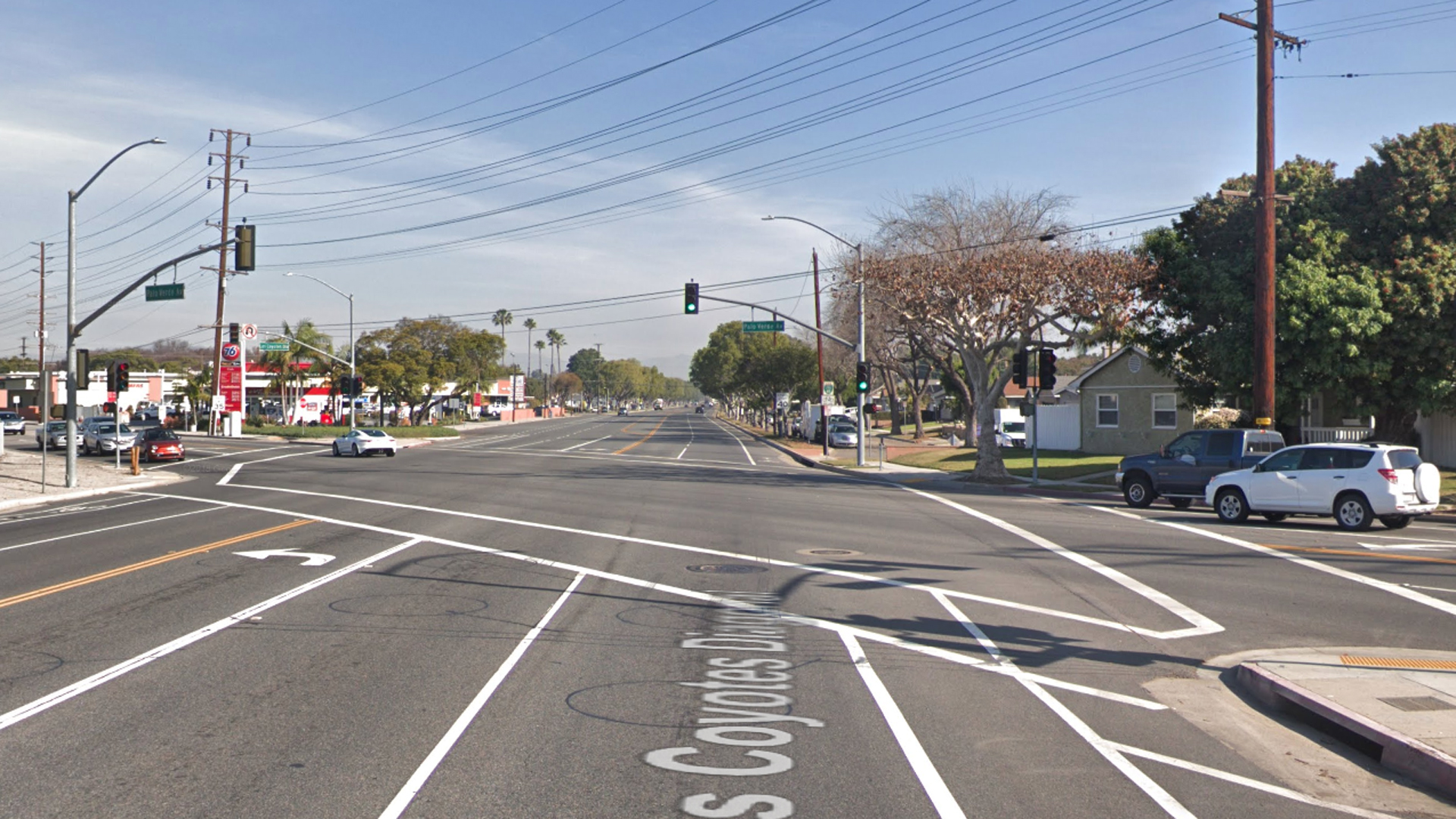 The intersection of Los Coyotes Diagonal and Palo Verde Avenue in Long Beach, as pictured in a Google Street View image in January of 2018.