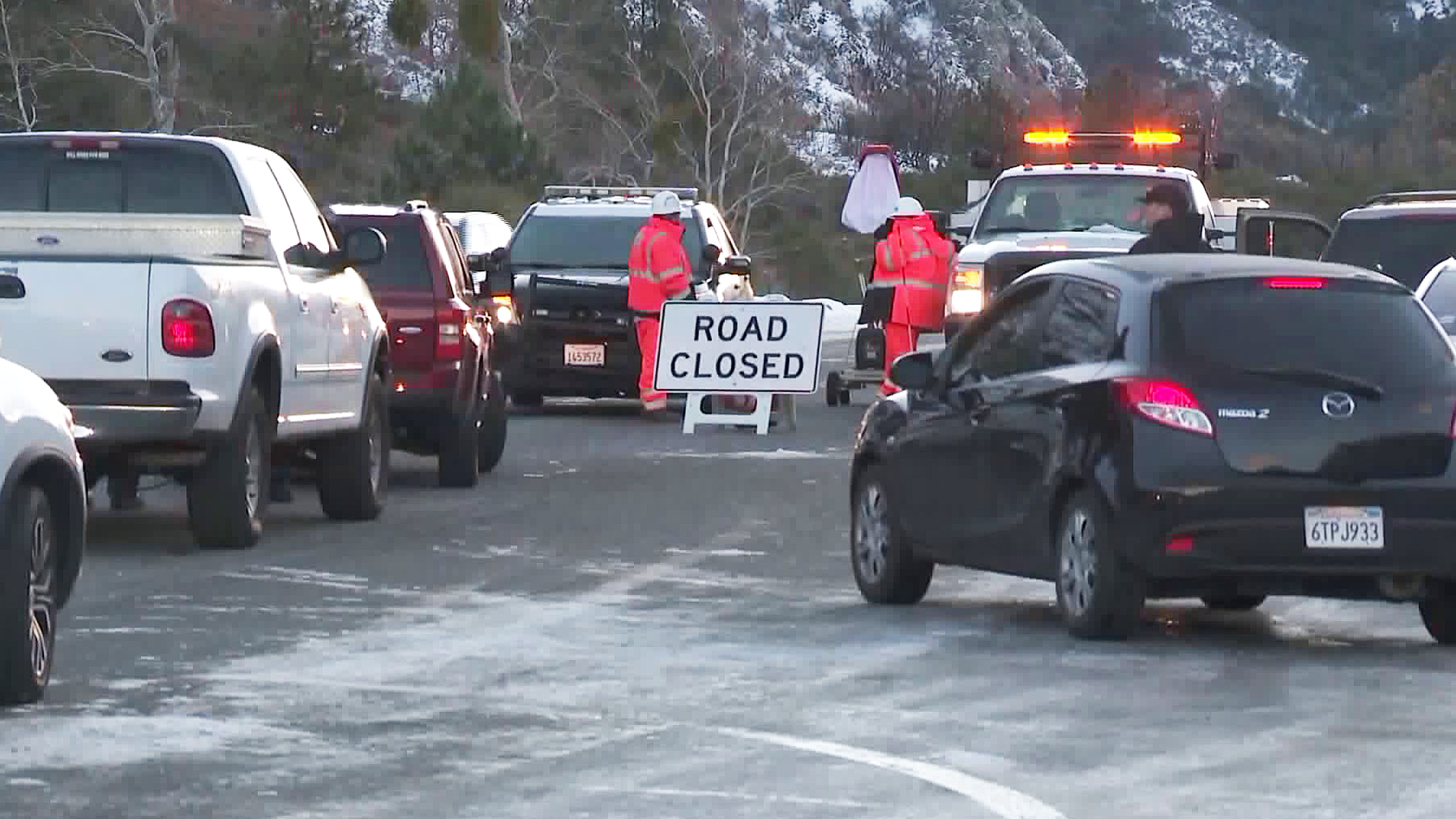 Drivers headed to big bear are stopped at a road closure. (Credit: KTLA)
