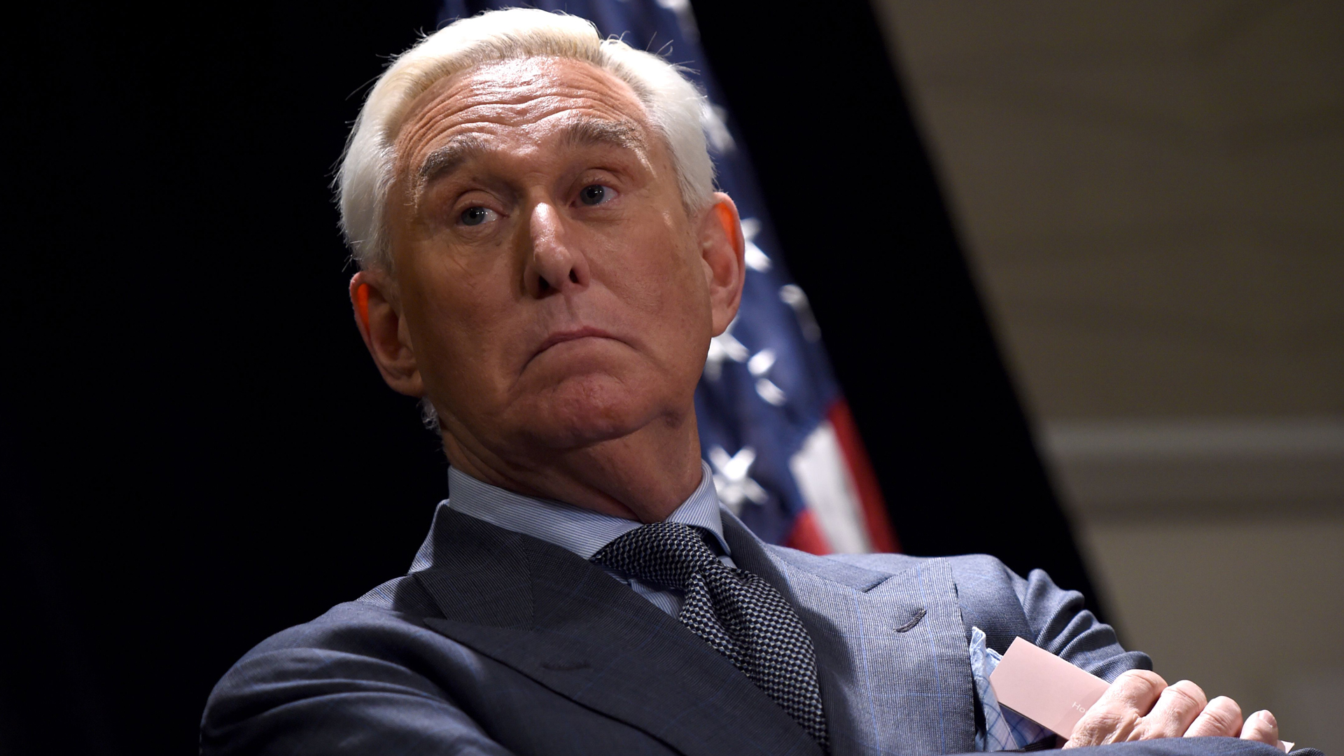 Roger Stone speaks to the press in Washington D.C., on Jan. 31, 2019. (Credit: Andrew Caballero-Reynolds/AFP/Getty Images)