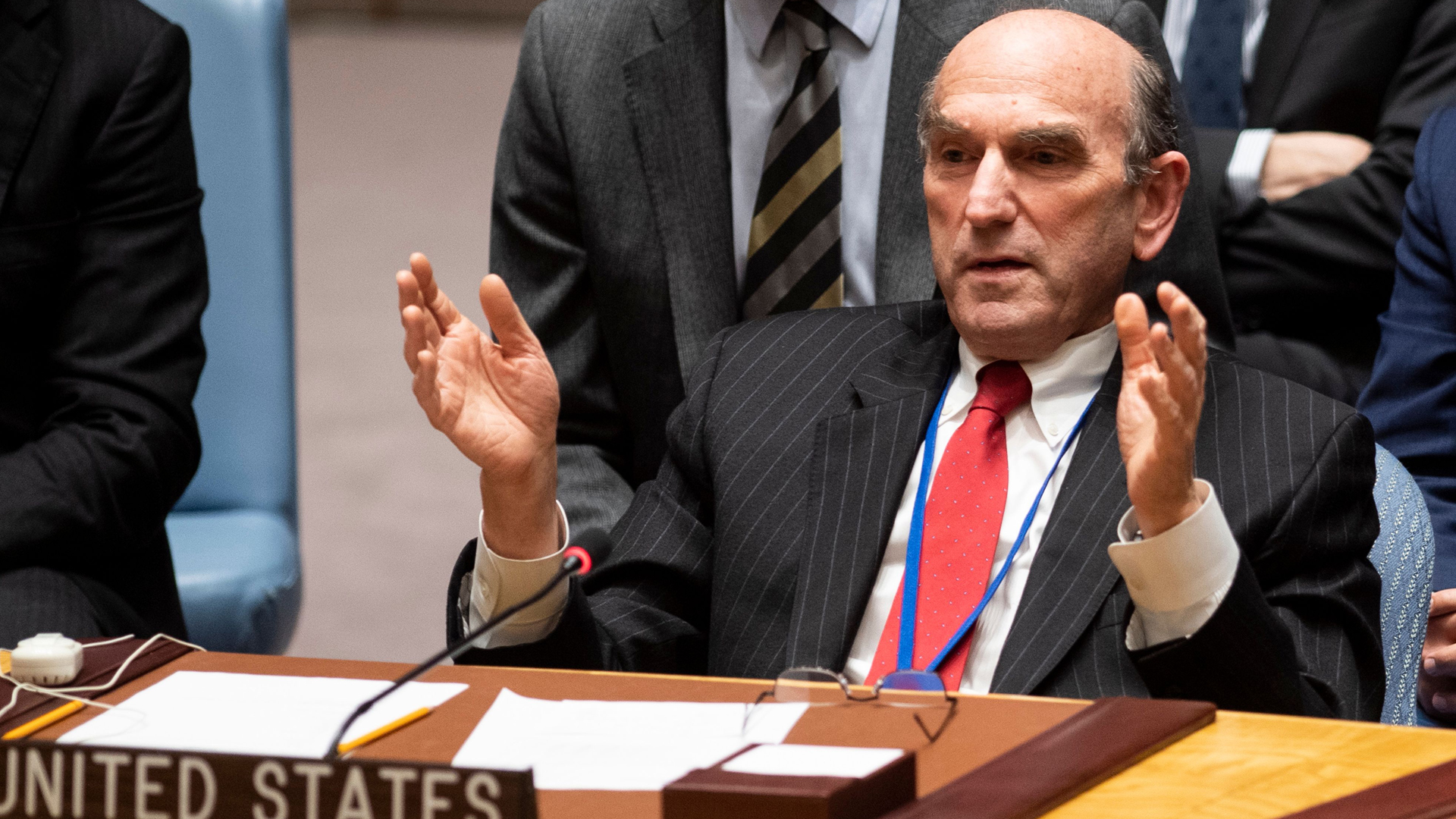 Elliott Abrams, the U.S. envoy for Venezuela, speaks at the United Nations Security Council meeting on Venezuela on Feb. 26, 2019, at the United Nations headquarters in New York City. (Credit: Johannes Eisele/AFP/Getty Images)