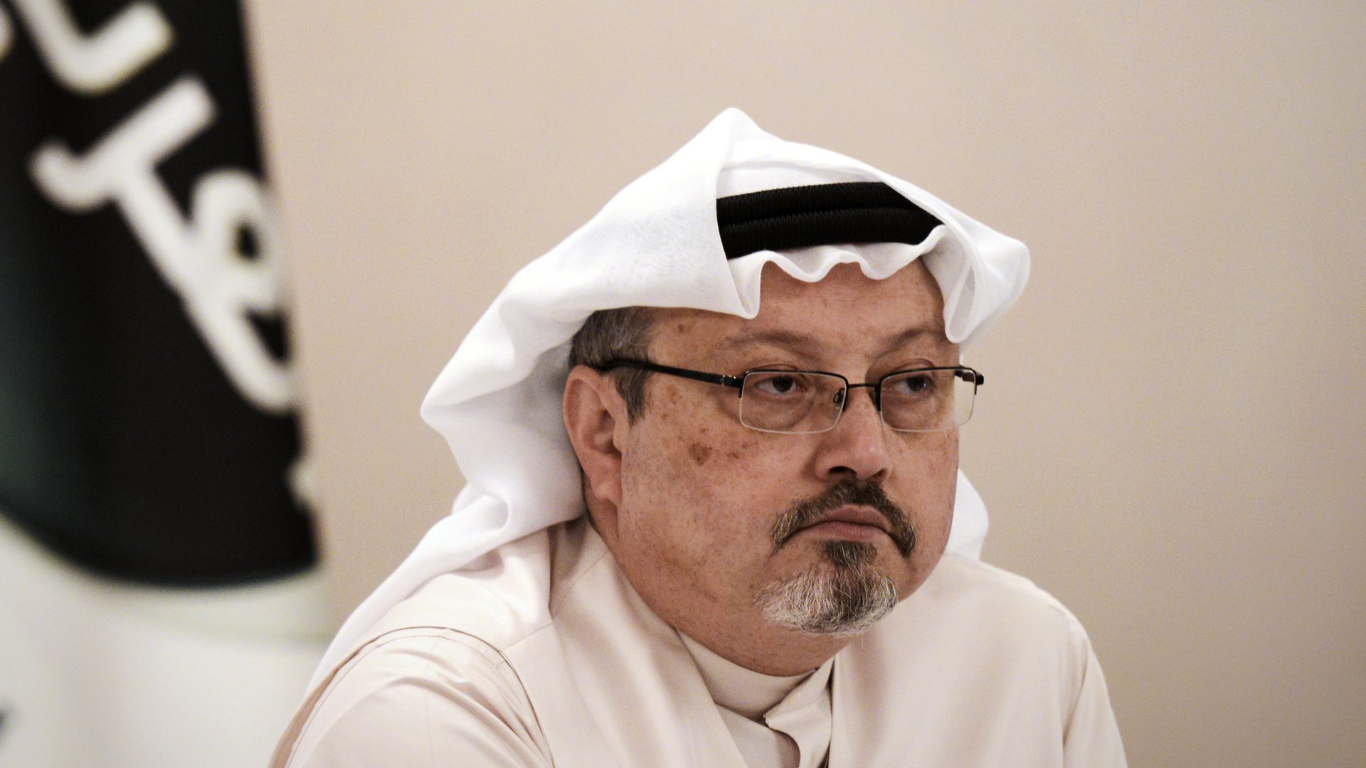 Jamal Khashoggi looks on during a press conference in Bahraini on Dec. 15, 2014. (Credit: Mohammed Al-Shaikh/AFP/Getty Images)