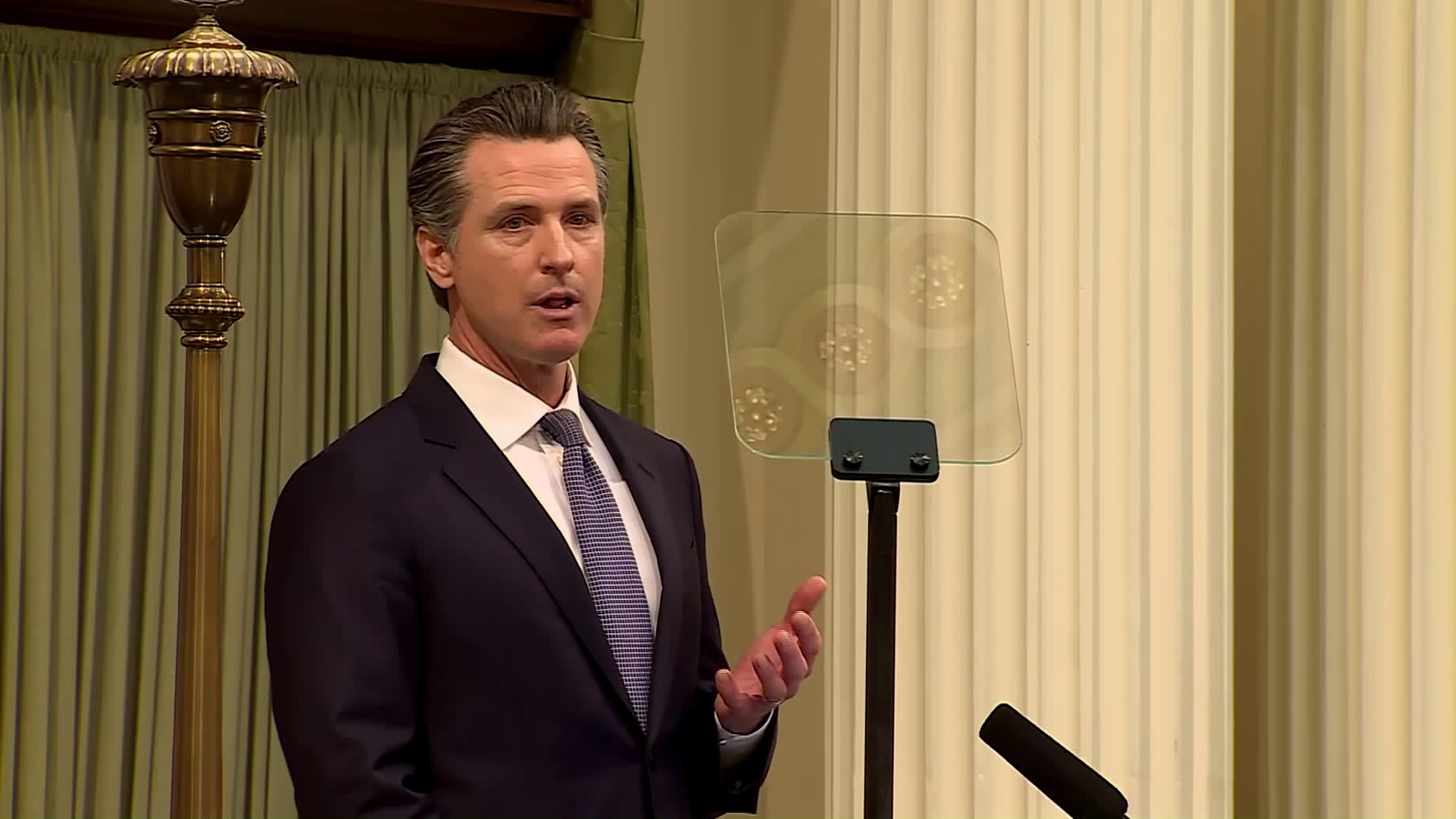 Gavin Newsom speaks at the State of the State address on Feb. 12, 2019. (Credit: Pool)