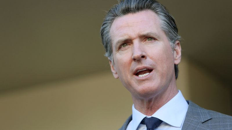 Gov. Gavin Newsom is seen at a news conference in February 2019. (Credit: Dania Maxwell / Los Angeles Times)