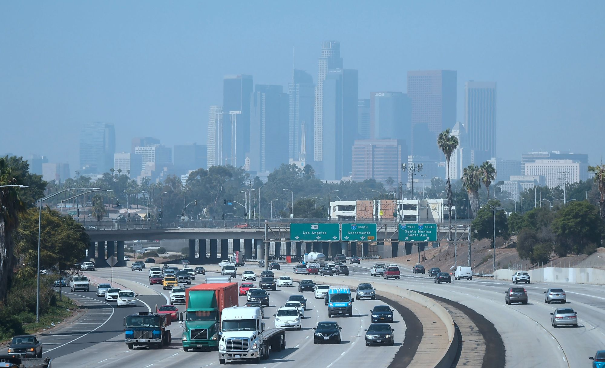 Highrise buildings in downtown Los Angeles are seen on on a hazy morning on Sept. 21, 2018. (Credit: FREDERIC J. BROWN/AFP/Getty Images)