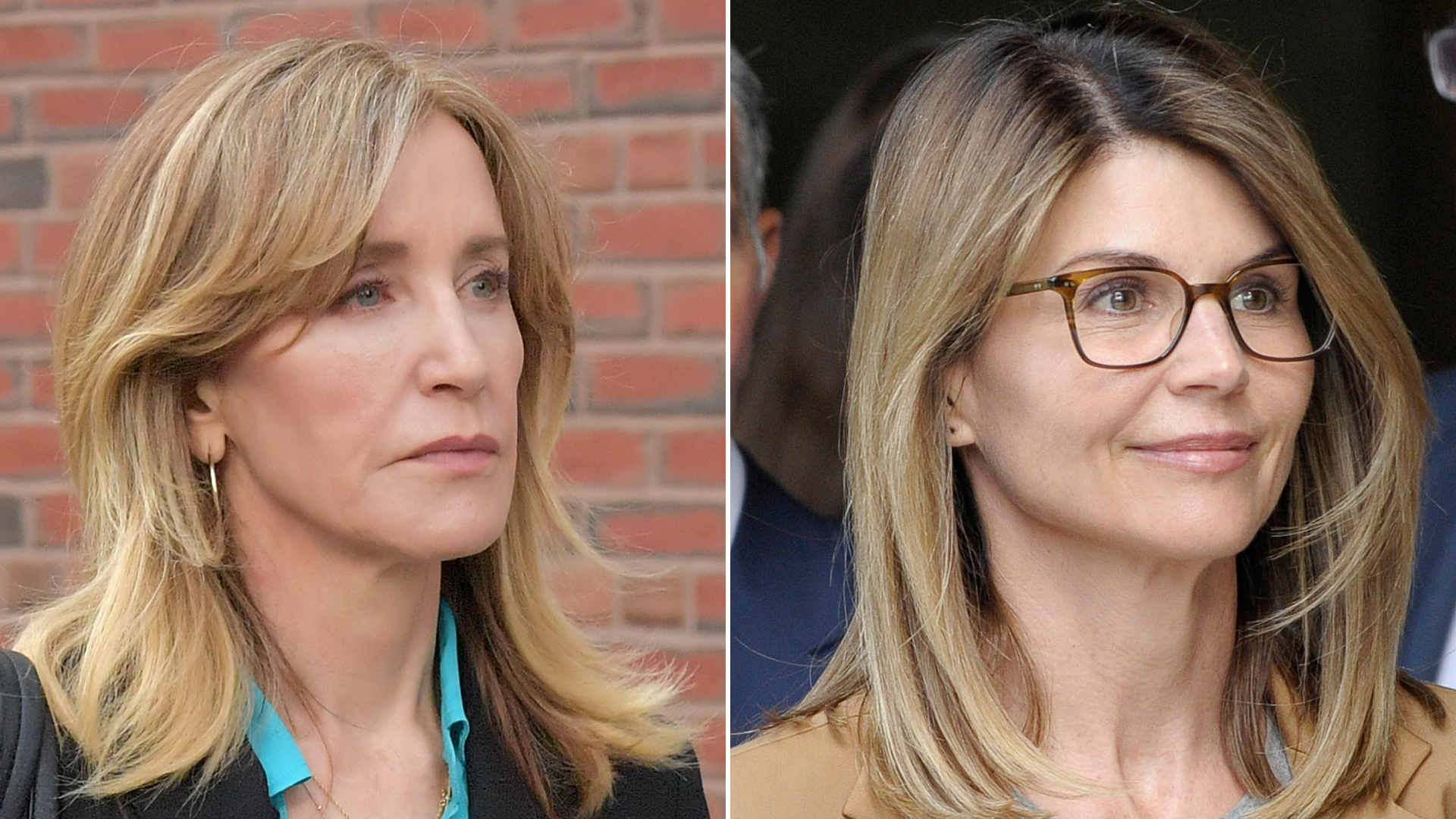 Felicity Huffman and Lori Loughlin appear at the John Joseph Moakley Courthouse in Boston on April 3, 2019. (Credit: Paul Marotta/JOSEPH PREZIOSO/AFP/Getty Images)