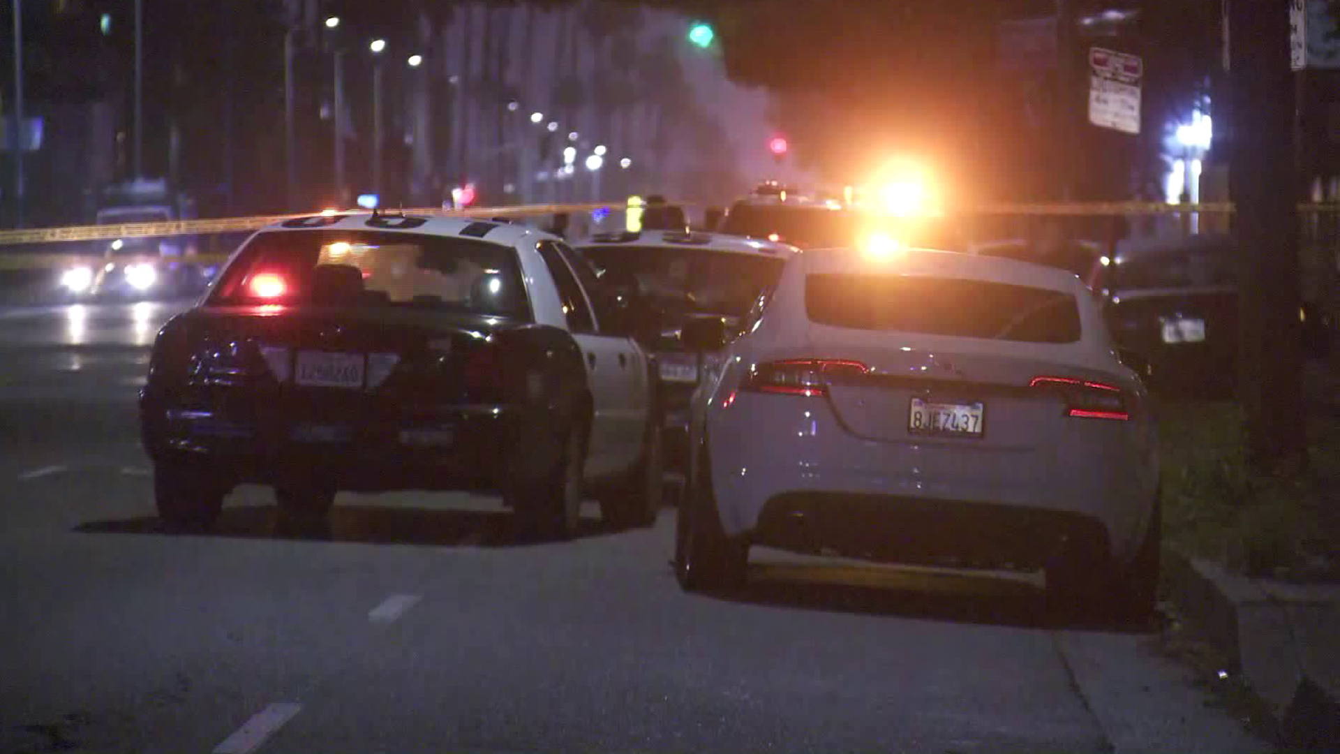 Police respond to investigate after a man was shot dead in South Los Angeles on April 22, 2019. (Credit: KTLA)