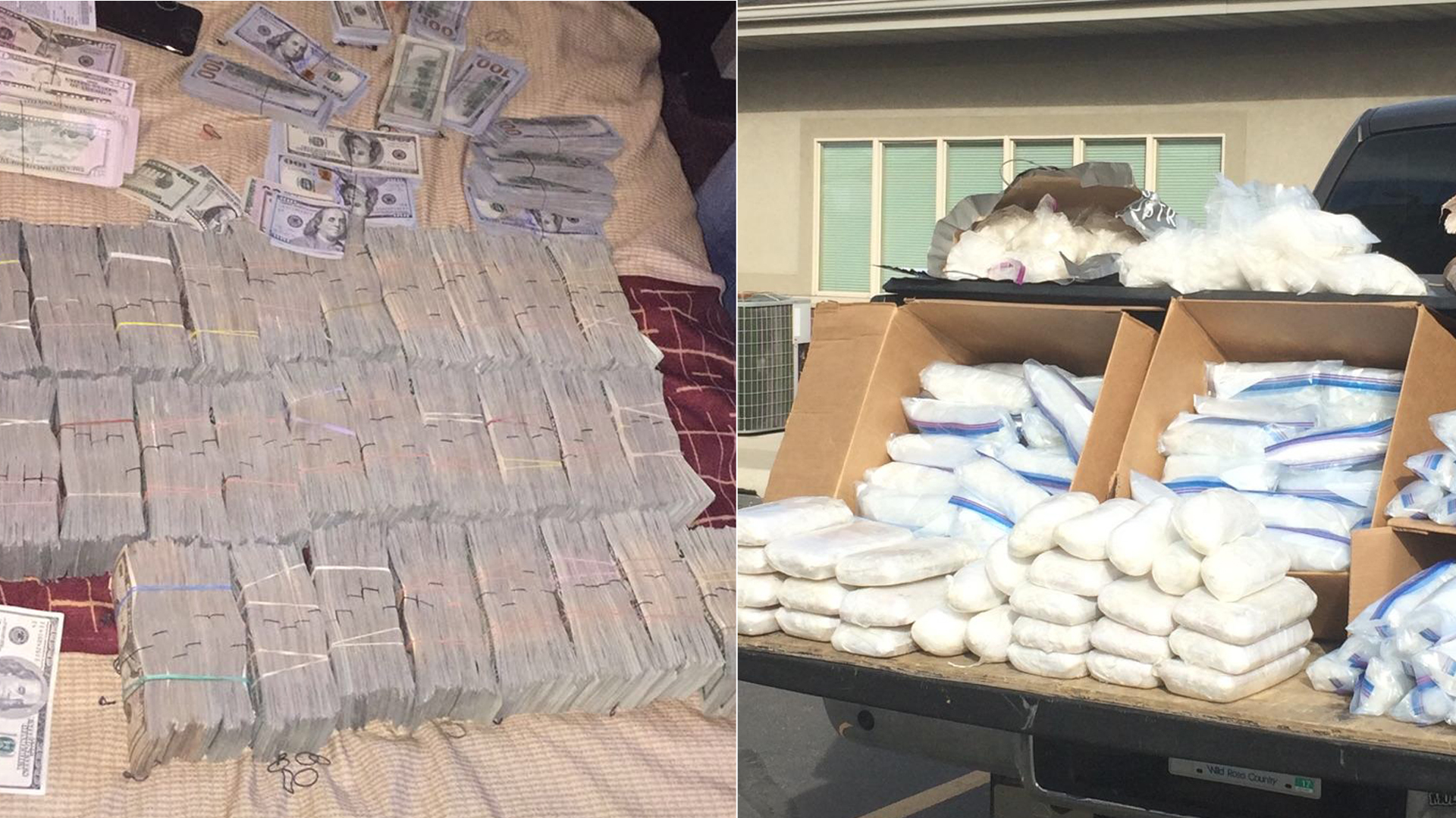 On left, stacks of cash seized during the investigation into a Mexico-L.A. drug trafficking ring are pictured. Bundles of narcotics are seen on the right. The photos were released by the U.S. Department of Justice on May 30, 2019.