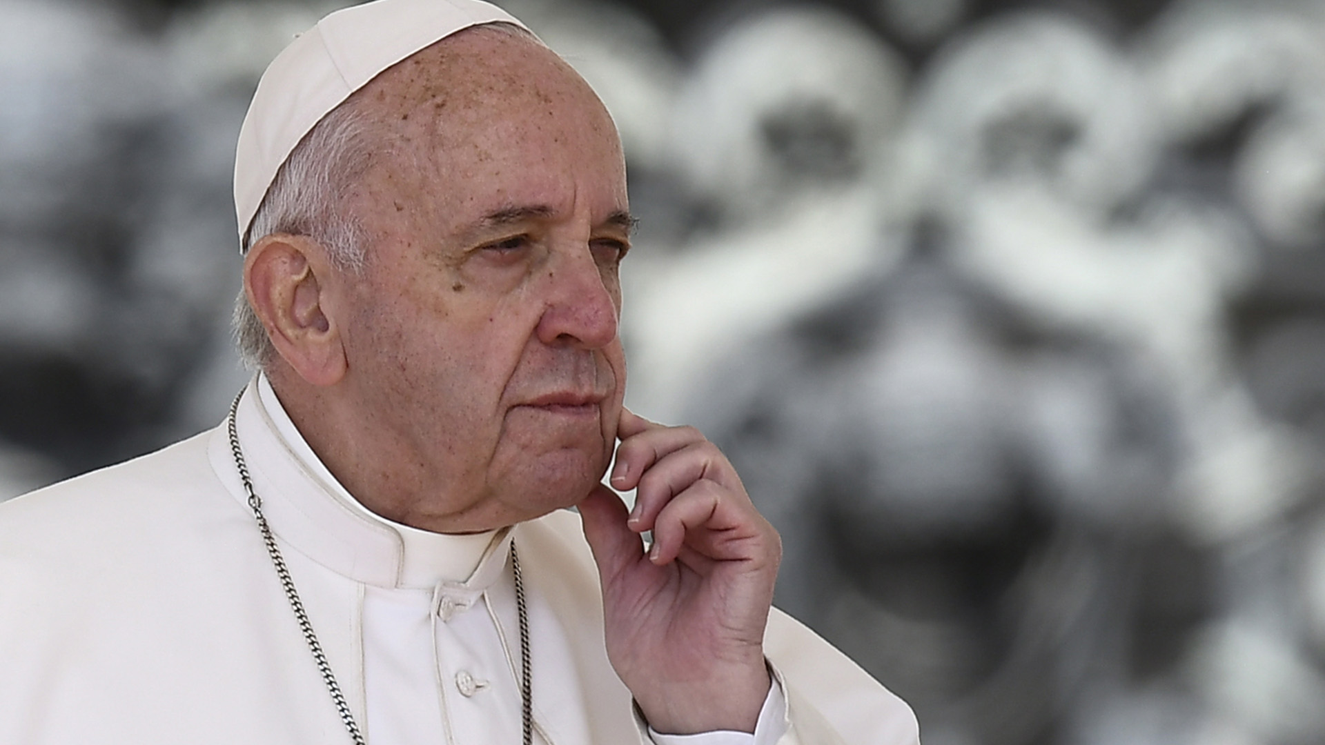 Pope Francis ponders during the weekly general audience on May 8, 2019 at St. Peter's square in the Vatican. (Credit: FILIPPO MONTEFORTE/AFP/Getty Images)